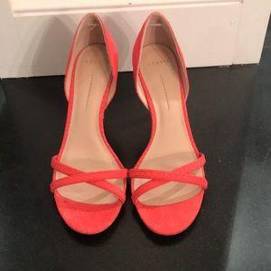 Aerin Cocobay open toe coral heel Size 7.5